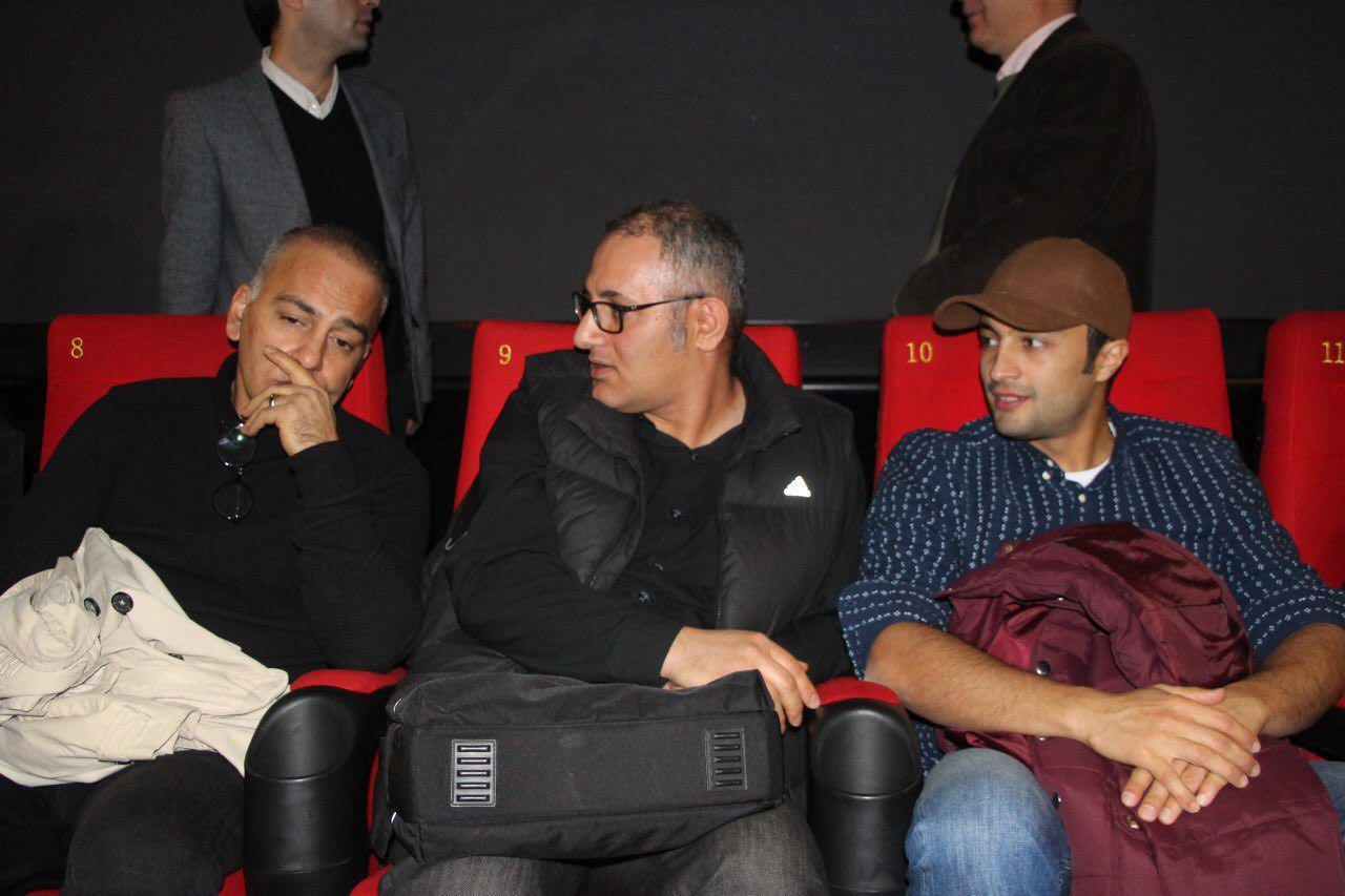 بهرام توکلی در اکران افتتاحیه فیلم سینمایی تنگه ابوقریب به همراه امیر جدیدی و حمیدرضا آذرنگ