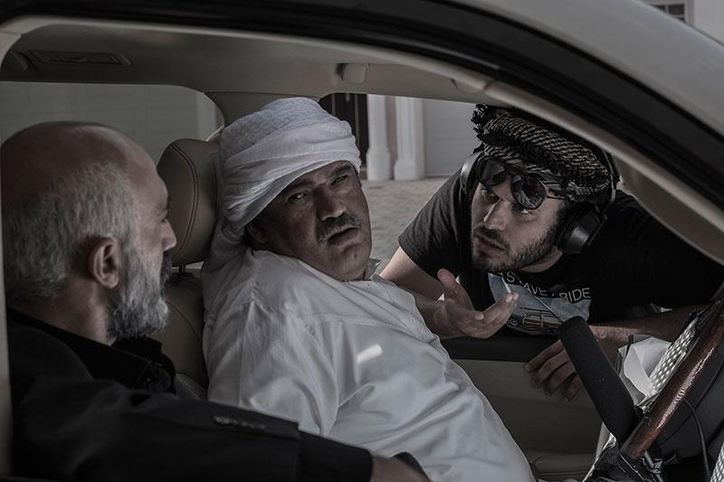 نادر سلیمانی در پشت صحنه فیلم سینمایی لاتاری به همراه محمدحسین مهدویان