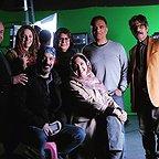 تصویری از پریسا مقتدی، بازیگر سینما و تلویزیون در پشت صحنه یکی از آثارش به همراه زهرا صمدی، آبتین برقی، نگین معتضدی، بهمن گودرزی، عزتالله مهرآوران و سامان دارابی