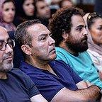 علی شفیعی ثابت، چهرهپرداز و بازیگر سینما و تلویزیون - عکس اکران به همراه عارف لرستانی و فریبرز عربنیا