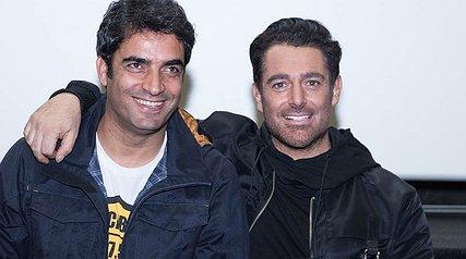 محمدرضا گلزار و مهلقا باقری در اکران فیلم «آینه بغل»